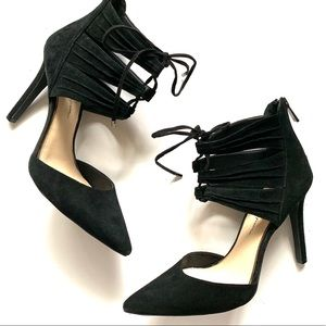 Jessica Simpson black suede pumps lace up pointed